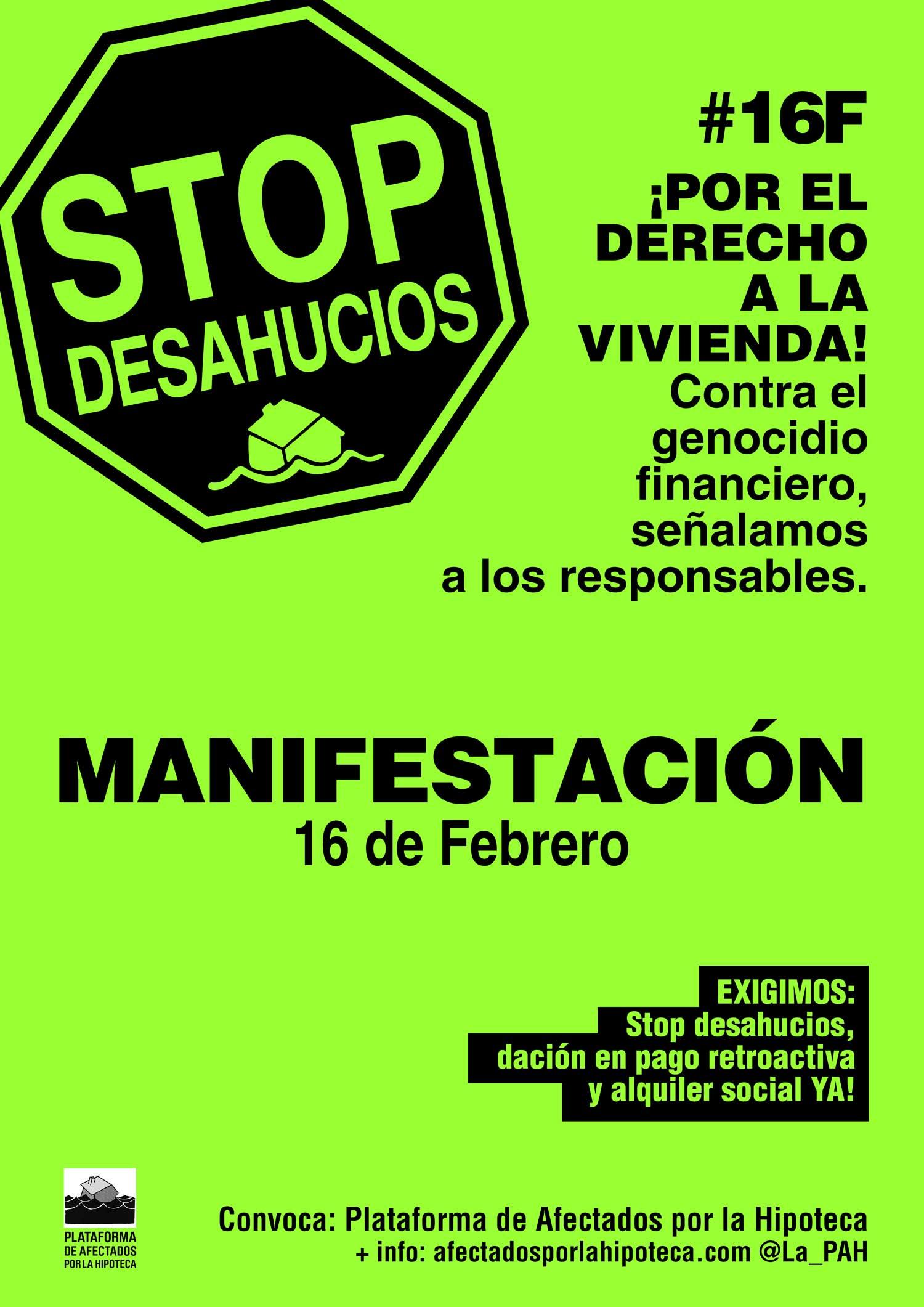 manifestación 16F PAH stop desahucios