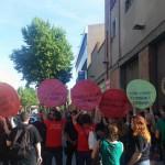 Escrache silencioso de las PAHs catalanas a Rajoy ayer en Barcelona