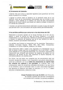 El Grupo Promotor de la Ley 24/2015 plantea alternativas urgentes para garantizar el derecho a la vivienda y los suministros