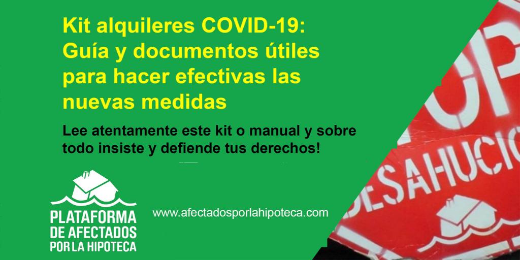 Kit alquileres COVID-19: Guía y documentos útiles para hacer efectivas las medidas